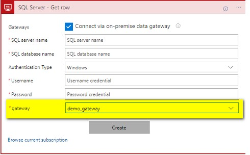 Use the connection Gateway in Azure Logic App