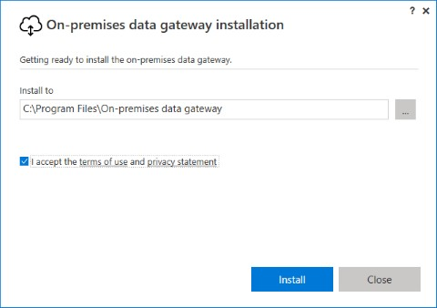 Installer Azure On-Premises Data Gateway - étape 2