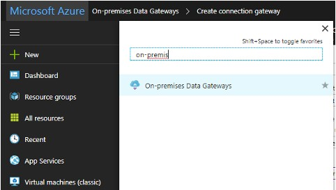 Configure Azure On-Premises Data Gateway sur Azure