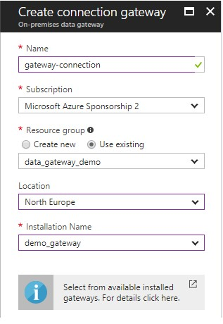 Add a gateway connection on Azure