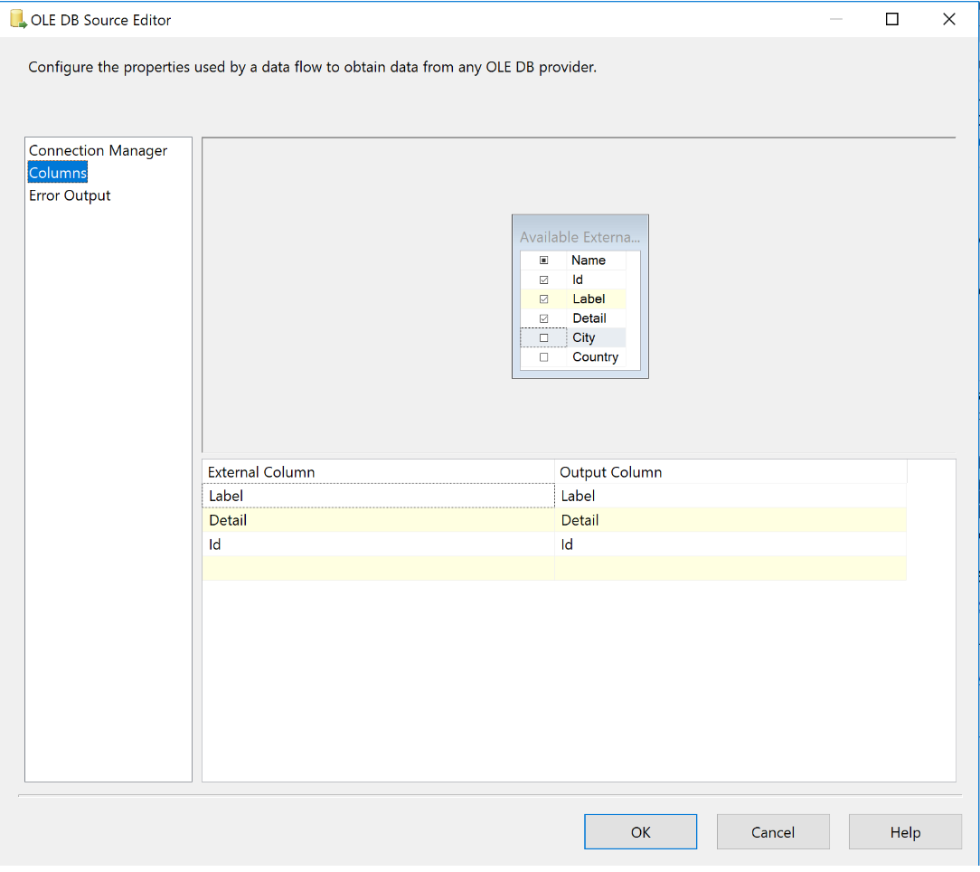 SSIS OLE DB Source column selection