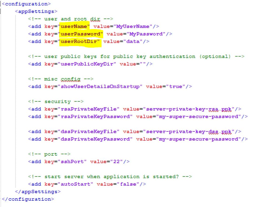 configuration du serveur SFTP Rebex