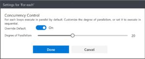 Azure logic app for each settings