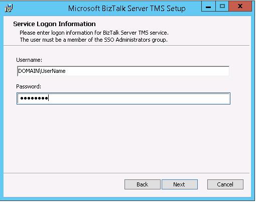 BizTalk TMS Setup - username and password