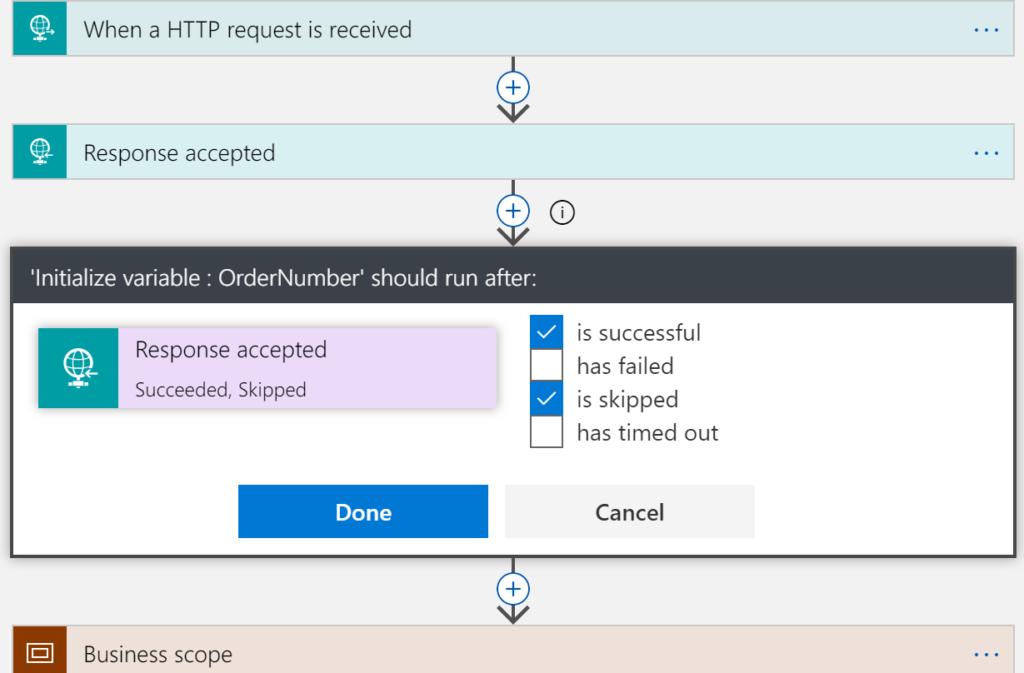 logic app imbriquee configure execute apres
