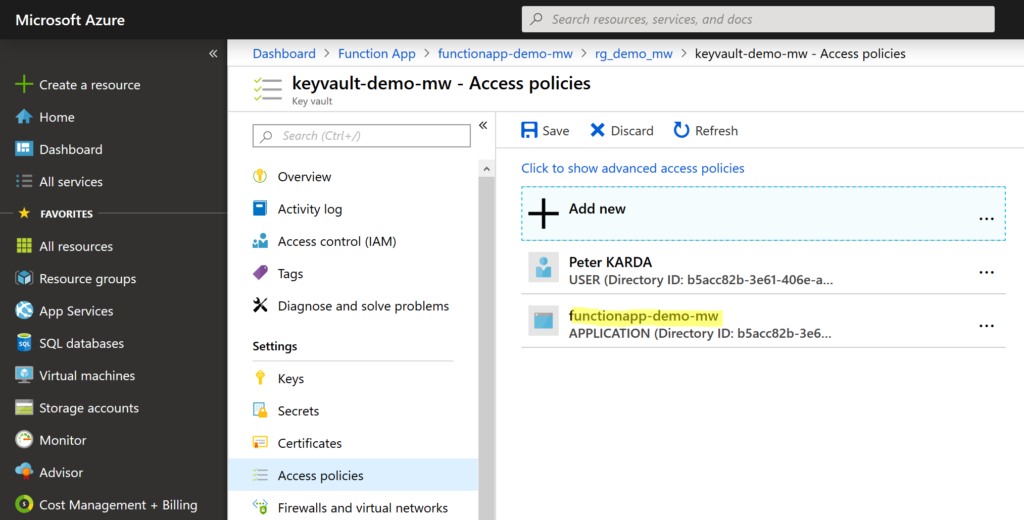 Adding Key Vault Access Policy to Function App principal