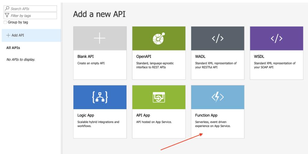 Select function app apim