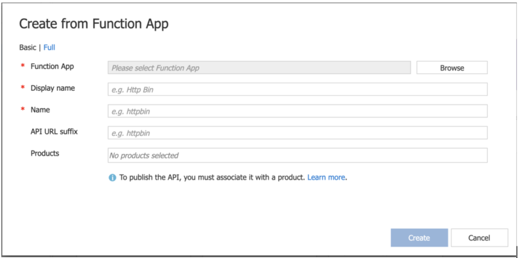 configure function app apim