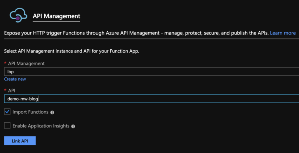 import back function app apim