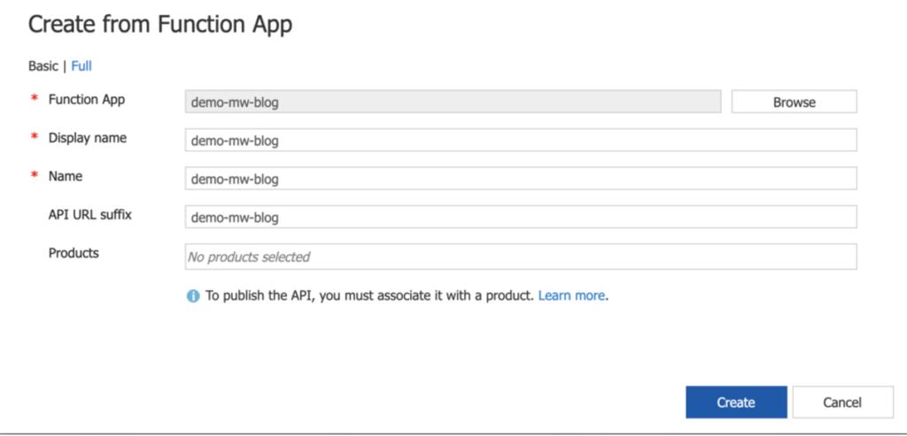 set up function app apim