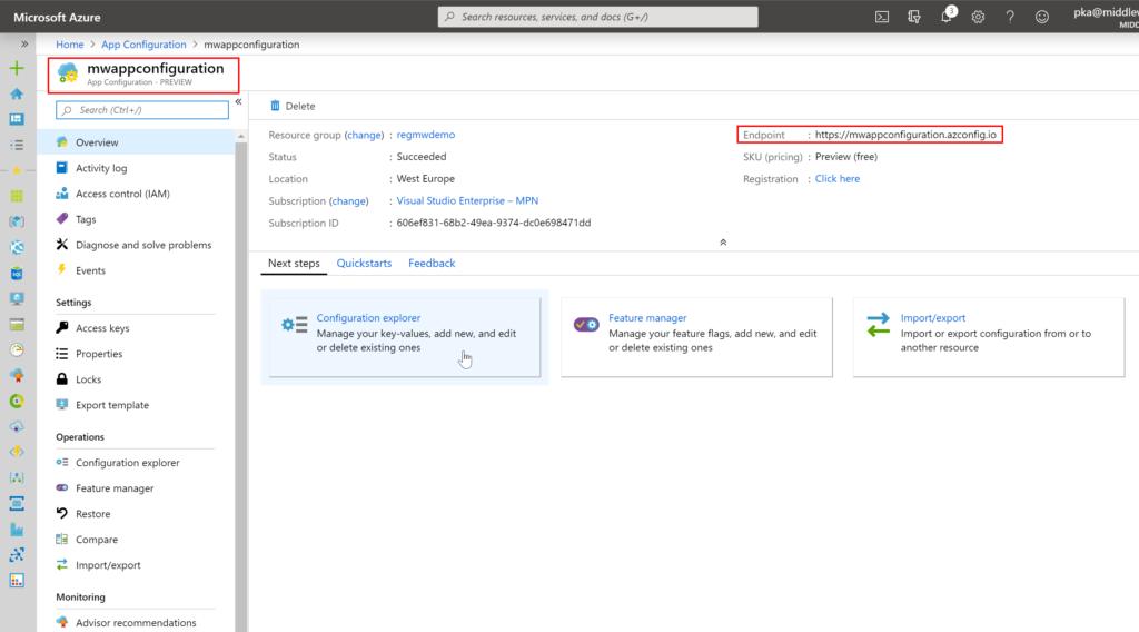 Creating App Configuration