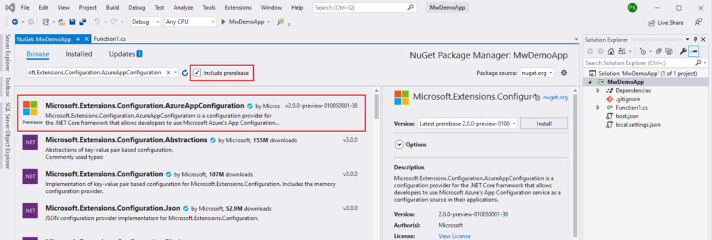 App Configuration Nuget Package