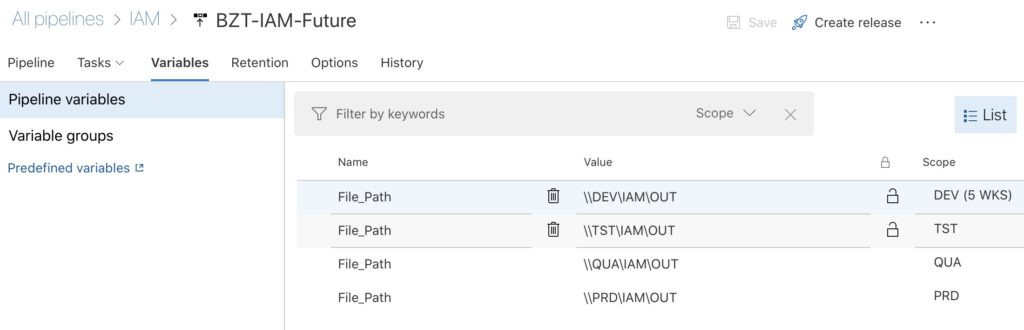 Pipeline variables