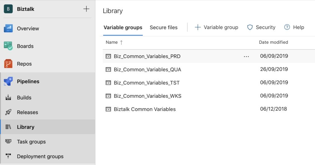 Configuration des variable groups