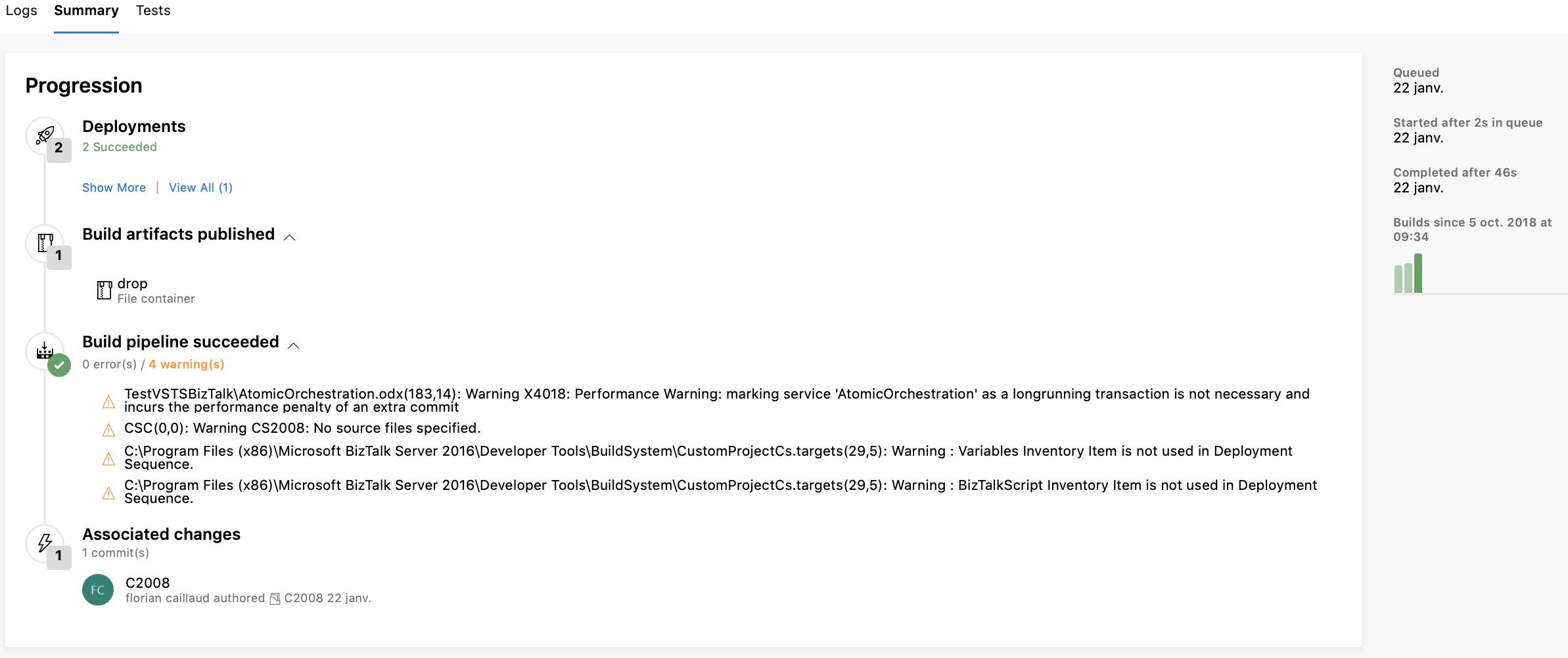 Build pipeline instance summary