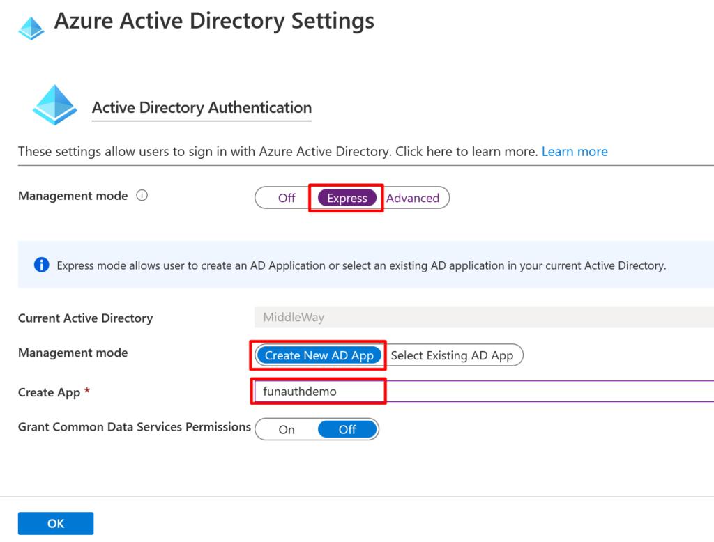 Azure Active Directory Settings