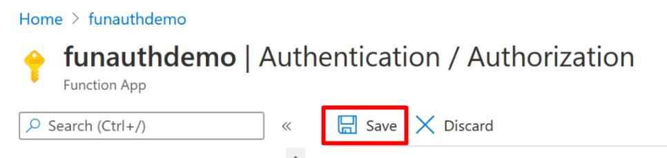 Saving Function App authentication settings