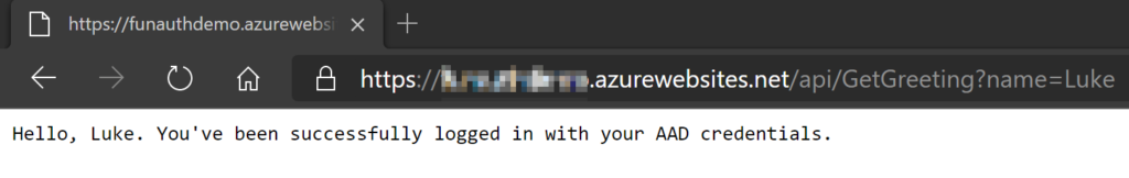 AAD Authenticated request