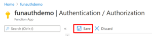 Saving Function App authentication settings