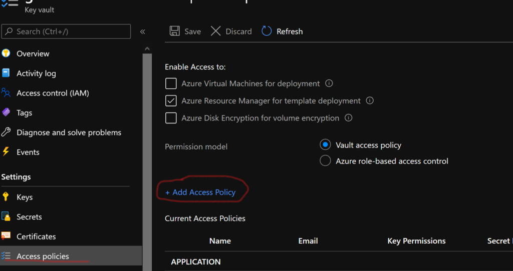 Add access policy