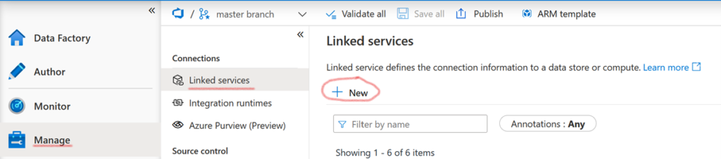 New linked service