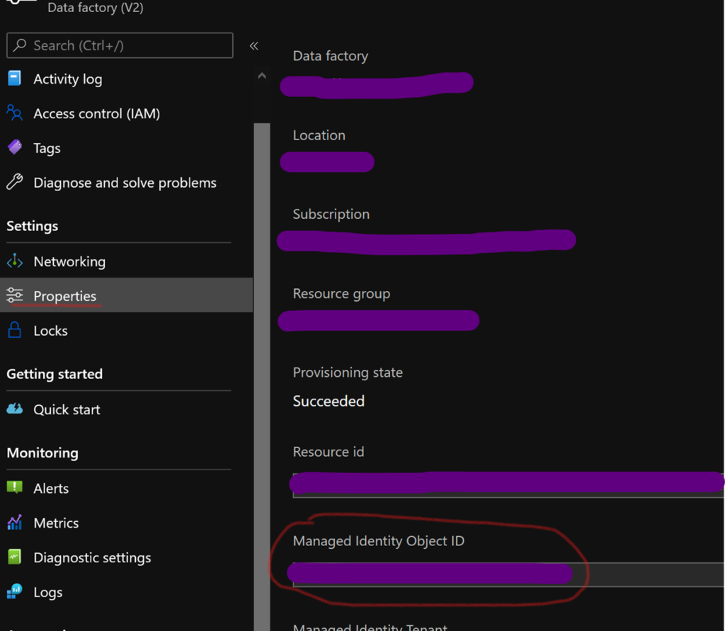 Managed identity object id
